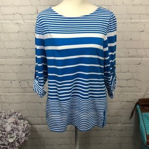Kate Parks top, size large, colors blue and white